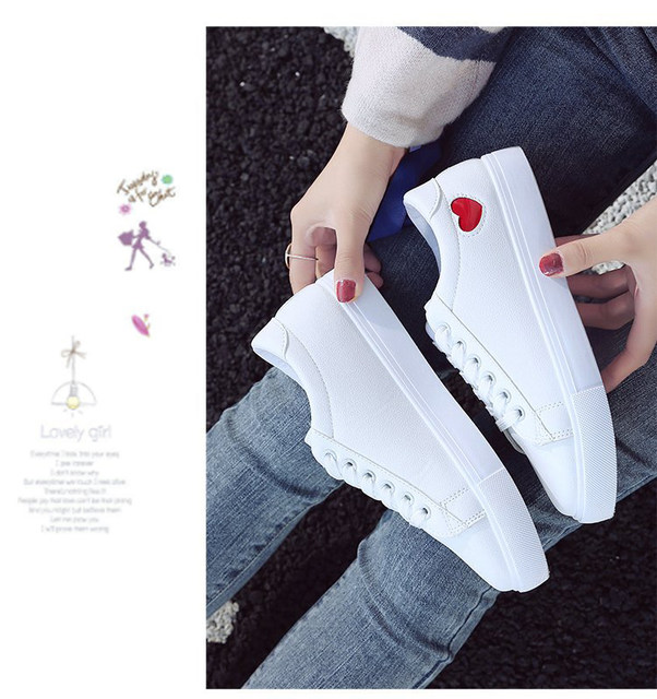 2019 Autumn Woman Shoes Fashion New Woman PU Leather Shoes Ladies Breathable Cute Heart Flats Casual Shoes White Sneakers 21