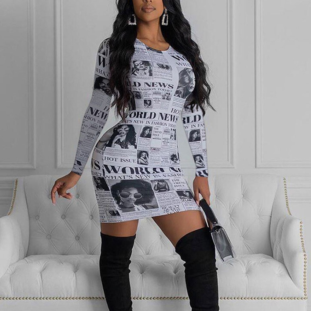 Novelty Dress Women Casual Sexy Newspaper Print Dress Long Sleeve O-Neck Pullover Dress Club Party Dress Casual Vestidos De @45