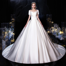Wedding-Dress Ball-Gown Satin Classic Plus-Size Train Robe-De-Mariee Princess Luxury