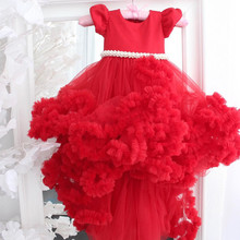 Dresses Kids Pageant-Gowns Flower-Girl Customized Birthday-Party Children Tulle Cloud