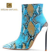 KATELVADI Hot 2 Colour Womens Boots Winter Autumn Blue Snake Pattern PU 5 Inches High Heels Zip Warm Ankle Size 38 K-560