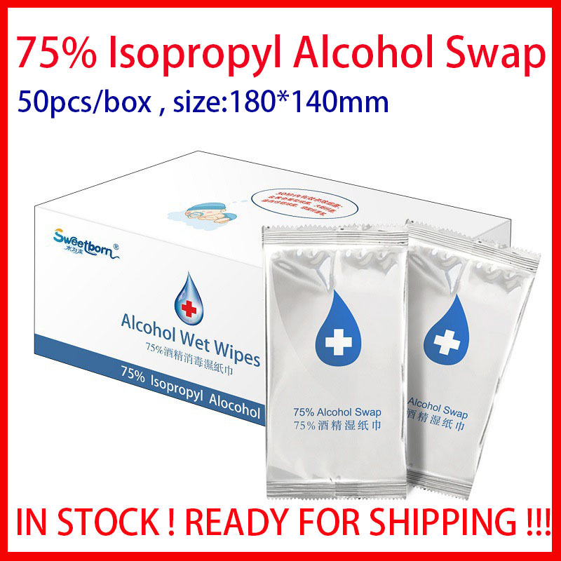 50pcs Individual Wet Wipes Big Size 75% Ispropyl Non-woven Water Swaps Cleaning Wet Sterile Alcohol Pads Hand Wipes