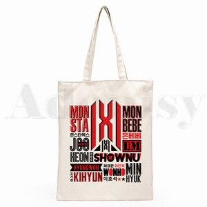 Kpop Monsta X K-pop Прямая поставка, сумки для покупок с графическим рисунком, модная повседневная сумка для девочек