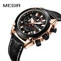 MEGIR новые модные мужские кварцевые часы с кожаным хронографом армейские военные спортивные Бизнес Мужские часы Relogio Masculino Reloj Hombre
