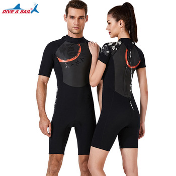 1.5 MM Neoprene with Shark Skin Wetsuit Men Women Onepiece  Swimming Scuba Diving Bathing Suit Short Sleeve Triathlon Wetsuit