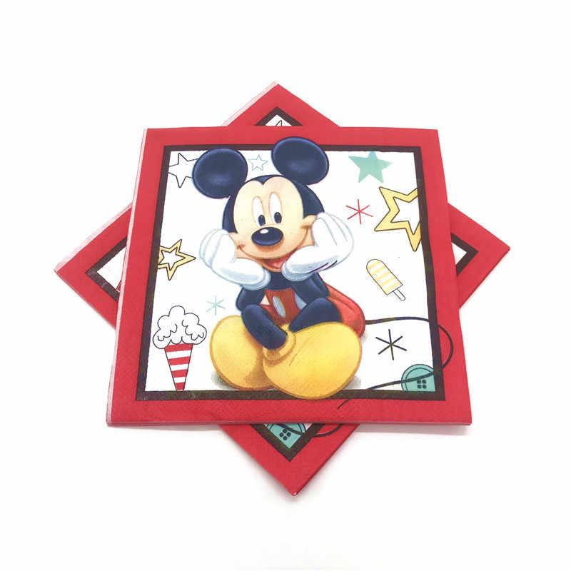 Red Mickey Mouse materiały urodzinowe dekoracje dla dzieci jednorazowy talerz obrus kubki flagi balony Baby Shower Boy dobrodziejstw