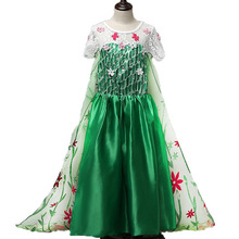 Fashion Creative Design Girl Dress Green Elsa Costumes Girls Cosplay Party Princess Anna for Children Kids