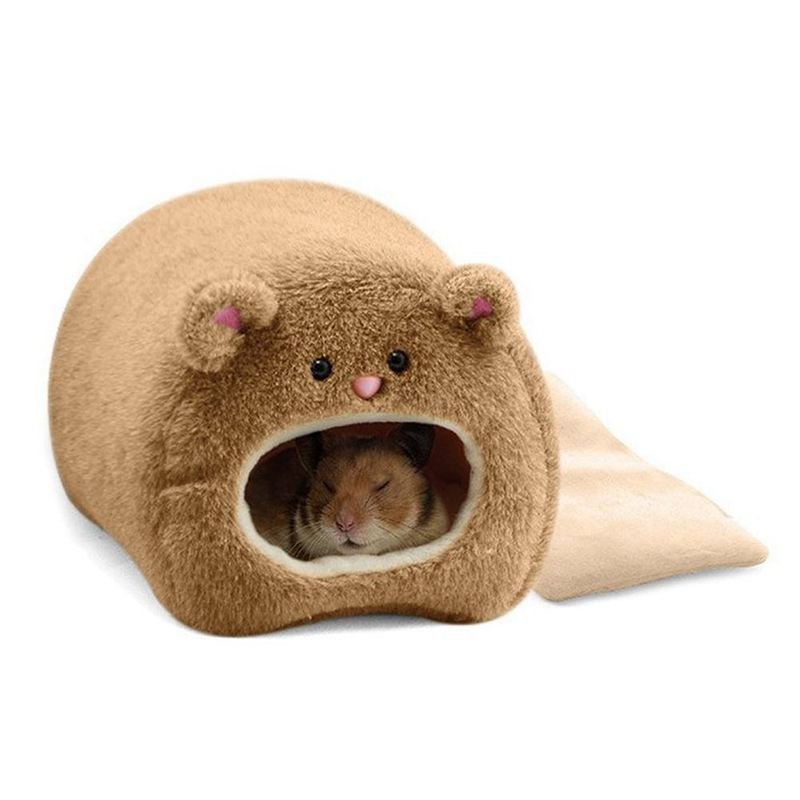 Rats Hamster Winter Warm Hanging Cage Hammock Cute Bear House With Bed Mat For Small Furry Animals