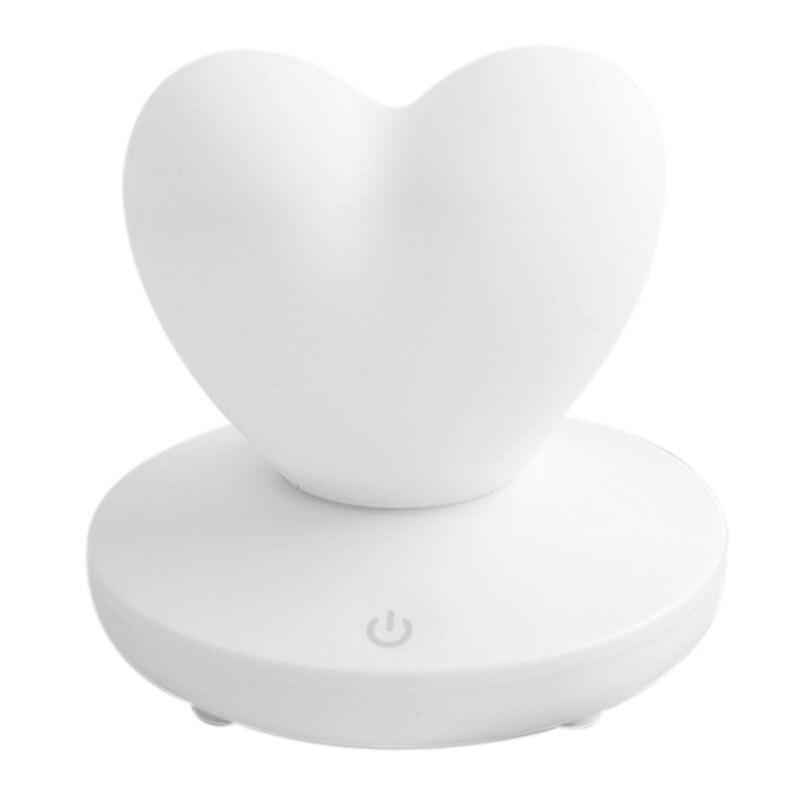 Pode ser escurecido led night light lâmpada silicone amor coração para bebê crianças presente de cabeceira quarto sala de estar decoração branco|Luminária de mesa| |  - title=