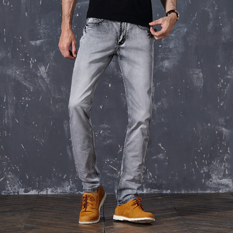 2018 Brand Hot Sale Mens Casual Jeans Slim Feet High Quality Fit Loose Waist Jeans For Men Grey Colors