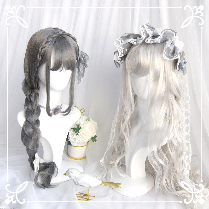 Daily Lolita Cosplay Wigs High-temperature Fiber Synthetic Hair White Gray Long Big Wave Curly Hair With Free Hair Net