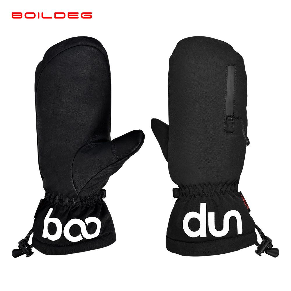 Boodun PU Thick Lining Zip Pocket Mittens Touch Screen Snowmobile Winter Motorcycle Ski Gloves Waterproof Windproof Skiing Sport
