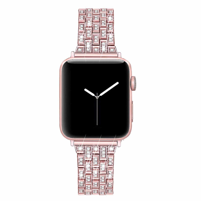 New For Apple Watch Band 38Mm Women Diamond Series 4 3 2 1 Iwatch Bracelet Stainless Steel Strap(38Mm Rose