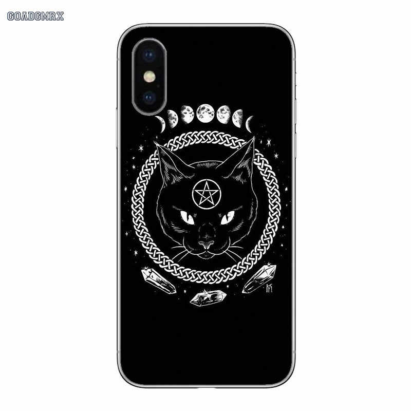 透明ソフトケースカバーヤギ猫ヘッドサタンアート iphone 11 × XR XS プロマックス 4 4S 5 5S 、 SE 5C 6 6S 7 8 プラス