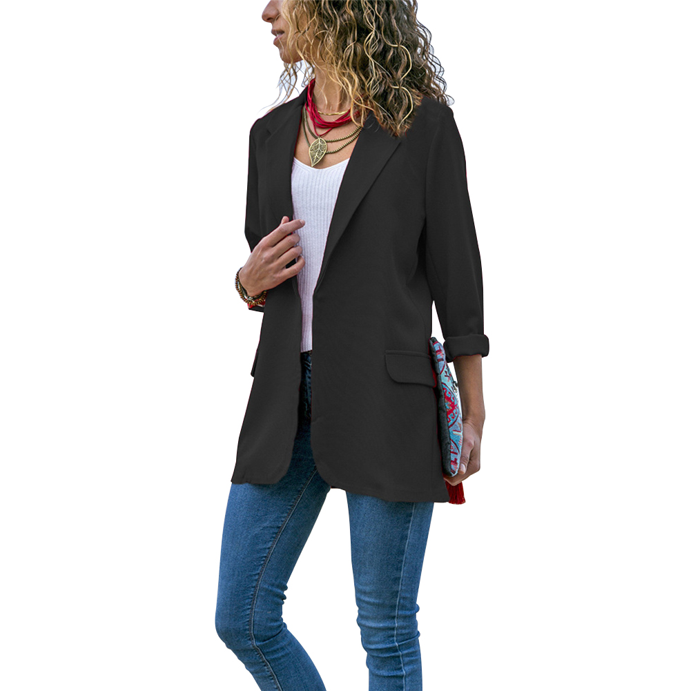 Women Office Autumn Outwear Turn-down Collar Casual Slim Fit Pocket Blazer Long Sleeve Spring Solid