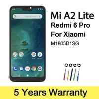 Xiaomi-Mi A2 라이트 Lcd 디스플레이 용 프리미엄 LCD 프레임 M1805D1SG 터치 스크린, 샤오미 레드미 6 프로 디스플레이 교체용