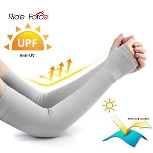 Image 2 - Tessuto di ghiaccio Braccio Maniche Manga Scaldini Sport Estivi UV di Protezione Corsa E Jogging Ciclismo Guida Riflettente Protezione Solare Fasce