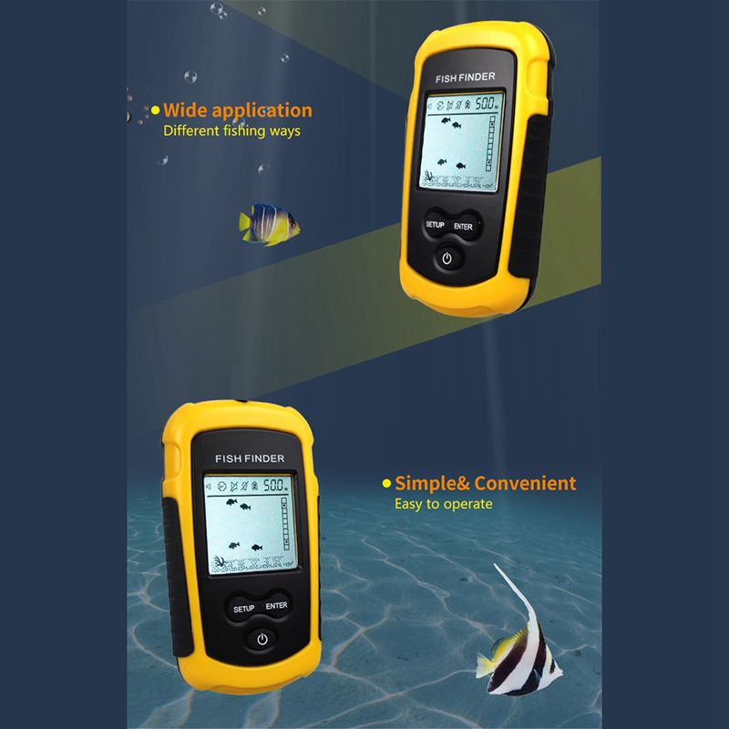 FF1108 1 Portable Sonar Alarm Fish Finder Echo Sounder 0 7 100M Transducer Sensor Depth Finder B3 Yellow in Fish Finders from Sports Entertainment
