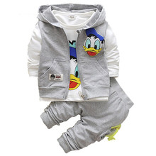 Conjunto de ropa de algodón con personajes para niños, camisa de manga larga + Pantalones + chaleco, traje de 3 uds., nuevo, Pato Donald, otoño