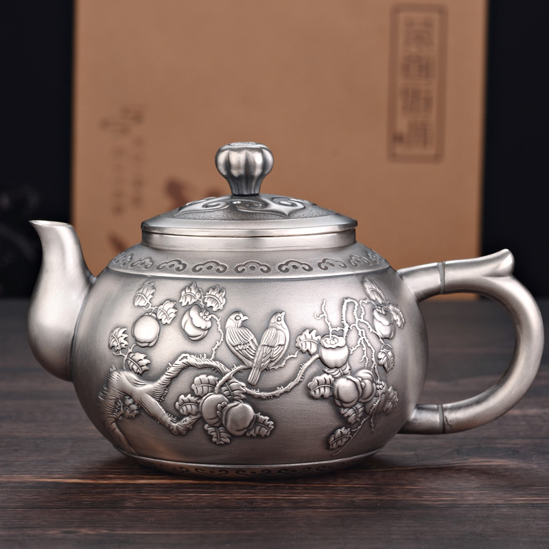 999 Sterling Silver Tea Set Set Silver Teapot Teacup Tea Ceremony Household Silver Pot Kungfu Teapot Master Cup