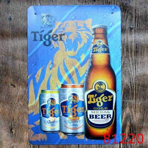 Metal Tin Sign Tiger Beer Gold Beer Bar Pub Fashion Wall Sticker Posters Vintage Plate Home Decoration Accessories Modern
