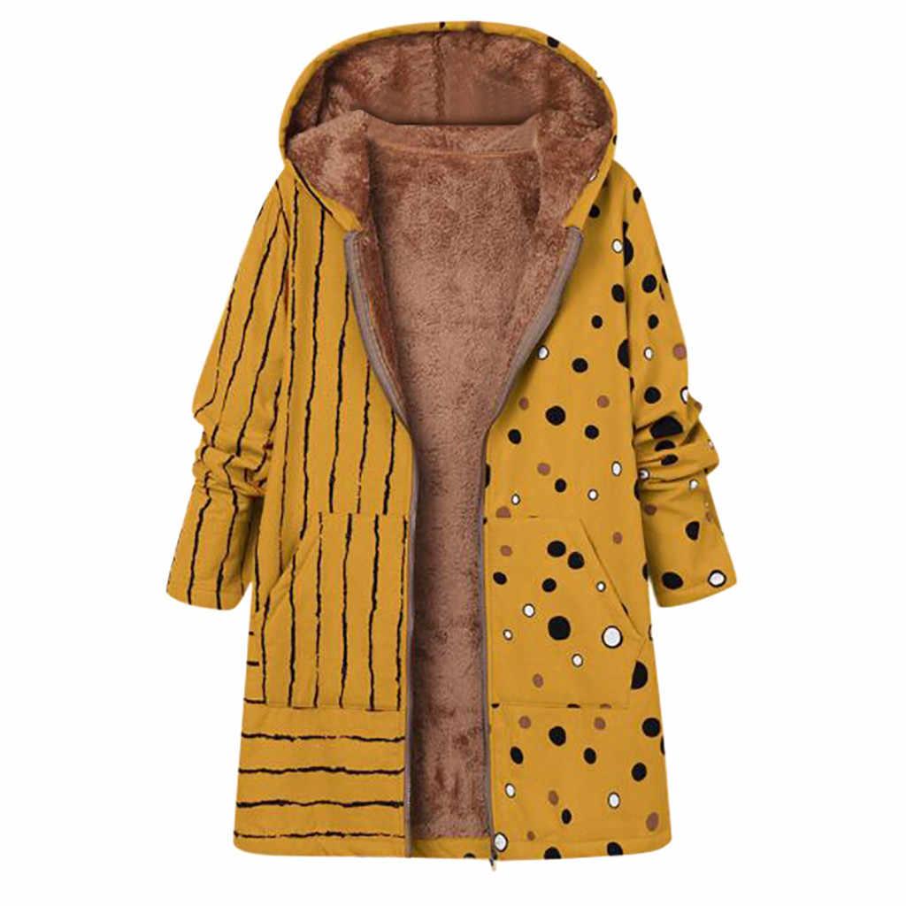 Kadın artı boyutu baskı ceket kış sıcak Vintage cepler boy kapşonlu palto kadın Casual dış giyim polar ceket anne # G1