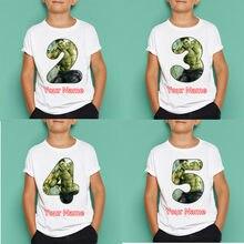 Meninos/meninas hulk aniversário número t camisa crianças feliz aniversário manga curta topos crianças máscaras presente de aniversário, dropshipping