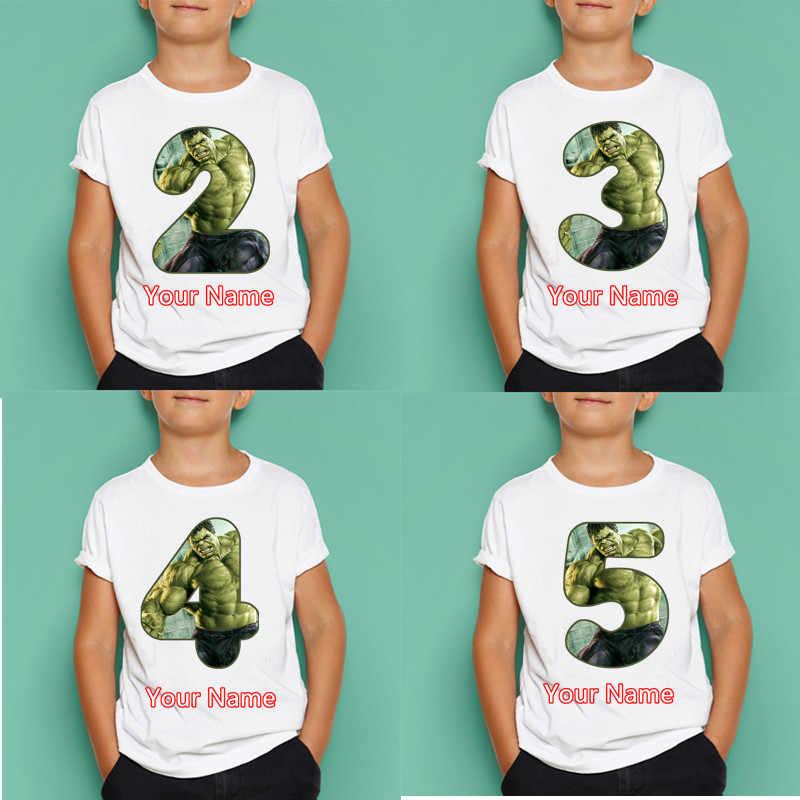 Camiseta con número de cumpleaños de Hulk para niños y niñas, camisetas de manga corta con Feliz cumpleaños para niños, máscaras para niños, regalo de cumpleaños, envío directo