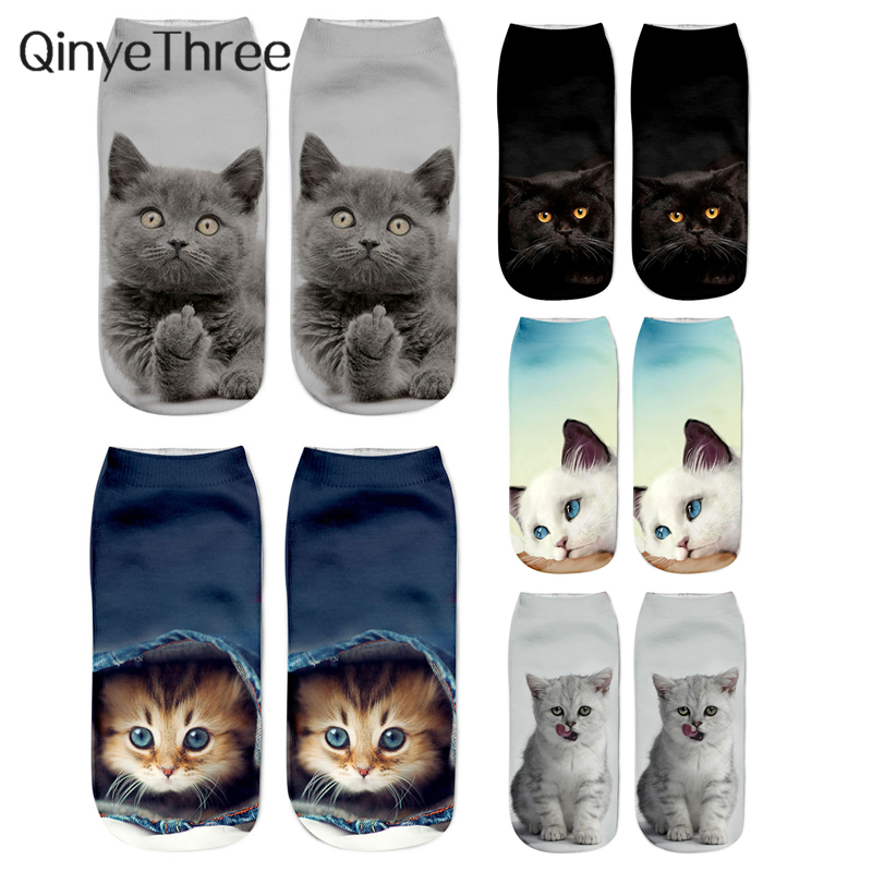 Women's Funny Animal Cute 3D Print Kitten Ankle Socks Unisex Socks Hot Women Fashion Sox Cartoon Cat For Female Dropship