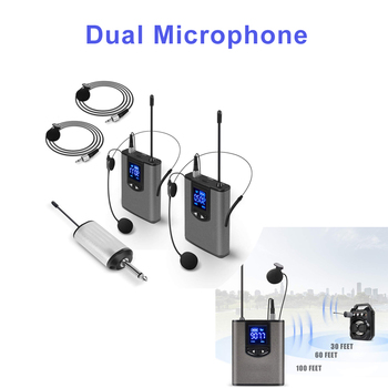 Wireless System With Dual Headset Mics/lavalier Mics Bodypack Transmitters