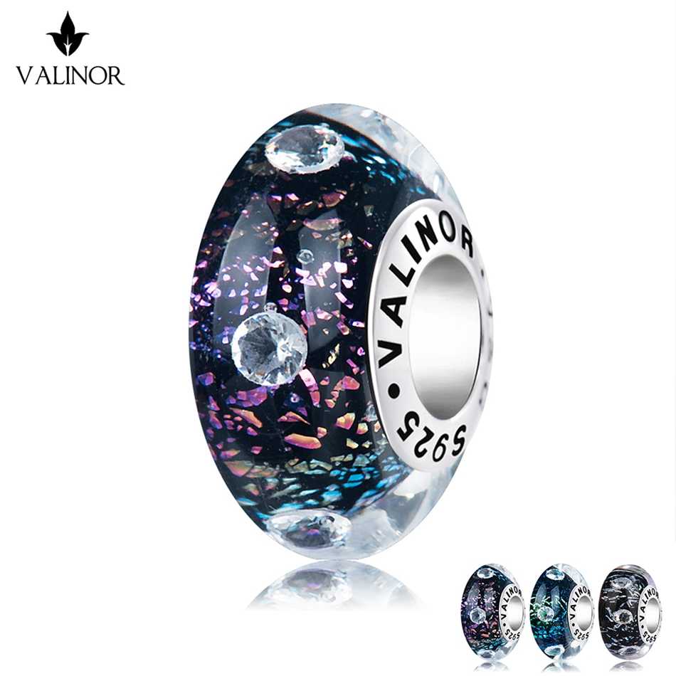 Wonderful universe murano glass beads charms 925 Sterling Silver fit Bracelets Jewelry Trendy JKLL006