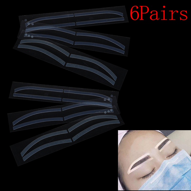Hot 6Pairs Eyebrow Stickers Disposable Eyebrow Tattoo Shaping Sticker Auxiliary Template Brow Stencil Makeup 1