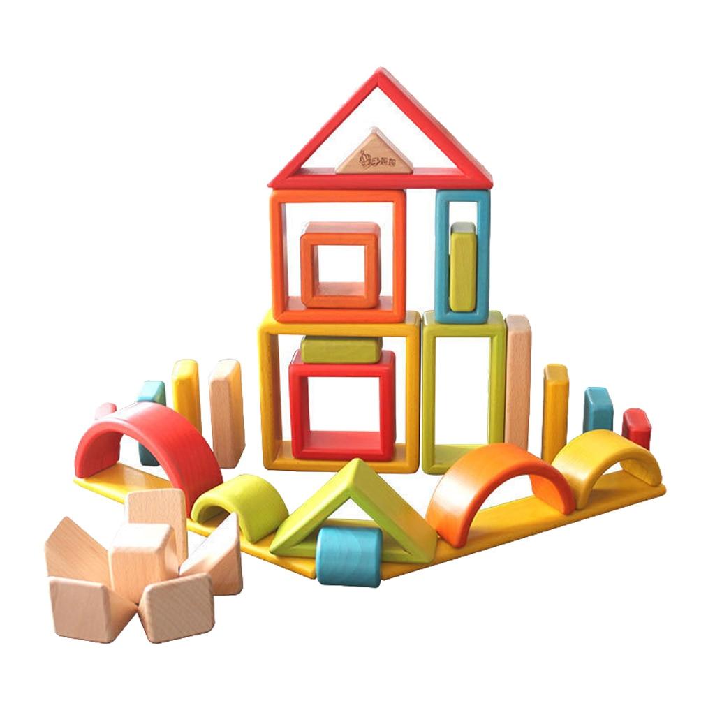 32 sztuka dla dzieci drewniane Rainbow bloki do układania w stosy edukacyjne zabawki Montessori w Klocki od Zabawki i hobby na  Grupa 1