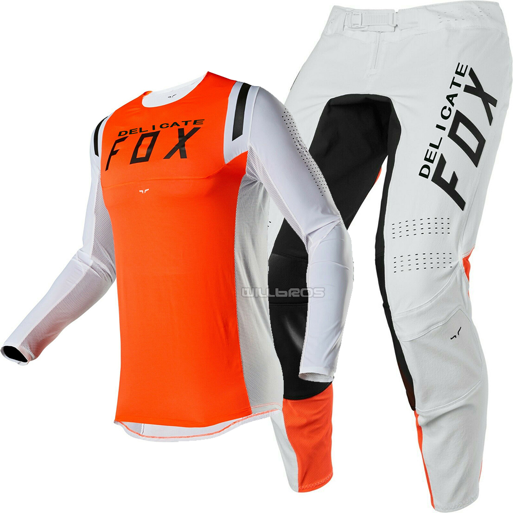 2020 Delicate Fox MX Racing Flex Air Motorcycle Delicate Fox Motorsport Motorbike Gear Set Locomotive Suit Orange Grey