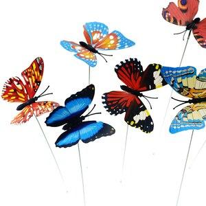 Image 3 - 5 sztuk/partia 7*25cm motyle ogród stoczni sadzarka kolorowe kapryśny motyl Stakes dekoracja na zewnątrz doniczki dekoracji
