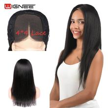 Wignee 4*4 Lace Closure Straight Human Hair Wigs With Baby For Black/White Women Brazilian Remy Preplucked