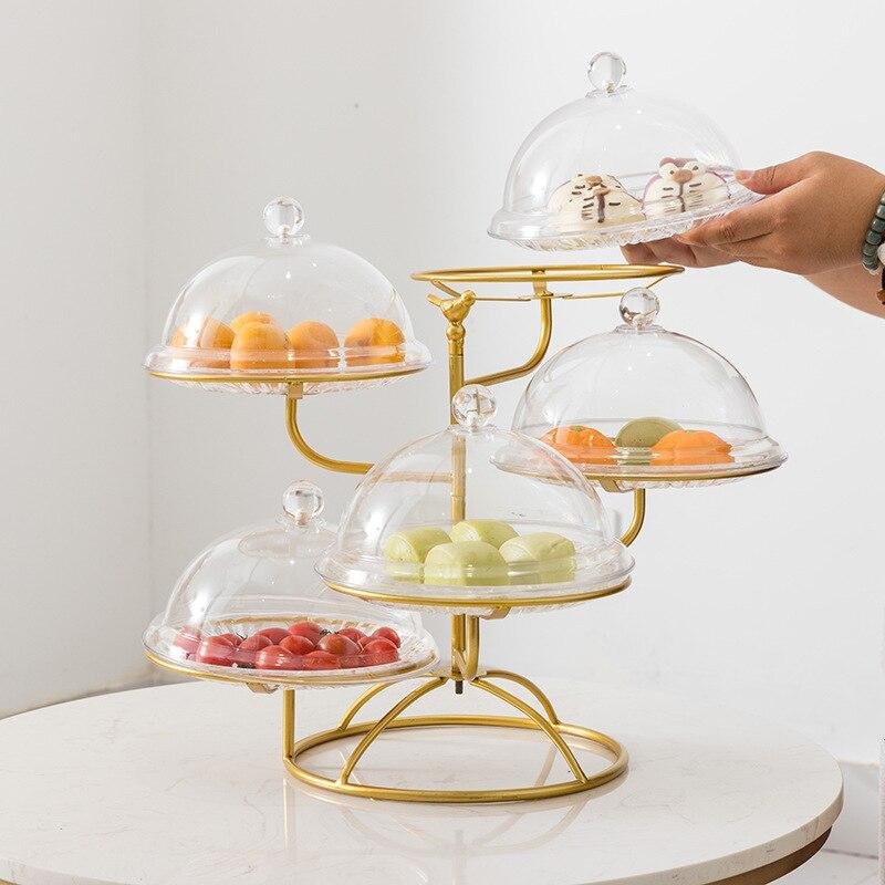Multi-couches fruits Snack support gâteau plateau pour salon cuisine Base ronde creux plat support métal fruits étagère WY617