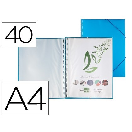 FOLDER LIDERPAPEL SHOWCASE WITH SPIRAL 40 CASES Polyprophylene DIN A4 BLUE