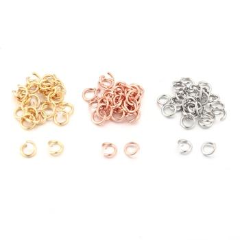 Полукольцо из нержавеющей стали, 100 шт./лот, 3 мм, 5 мм, розовое золото, сплит-кольца для самостоятельного изготовления ювелирных изделий, ожерелий, аксессуары для поделок