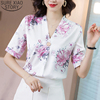Plus Size Silk Shirt 2020 Summer Loose Womens Tops and Blouses Floral Print V-neck Short Sleeve Pullover Ladies Clothes 9161 50