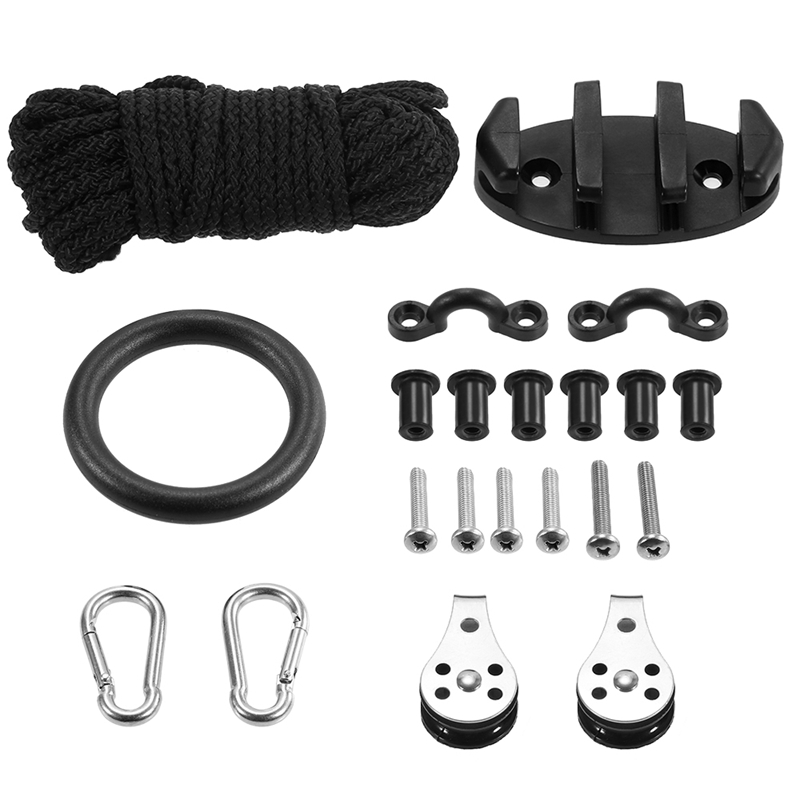 Water Sports Kayak Canoe Anchor Trolley Kit Cleat Rigging Ring Pulleys Pad Eyes Well Nuts Screws Kayak Accessories