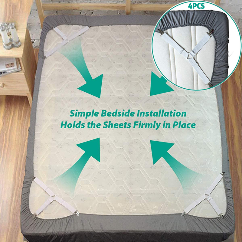 4PCS/Set Elastic Bed Sheet Grippers Belt Fastener Bed Sheet Clips Mattress Cover Blankets Holder Sofa Fixation Organize Gadgets