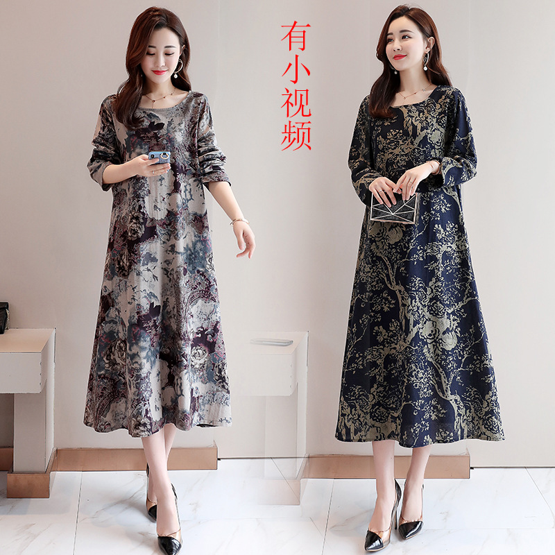 Photo Shoot 2019 Spring Ethnic-Style Printed Large Size Loose Cotton Linen Long Sleeve Over-the-Knee Mid-length Dress Women's