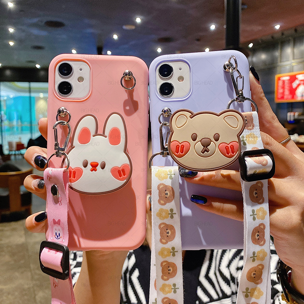 Cute Rabbit And Bear Case For Samsung Galaxy S20 Lite FE S21 Plus S10E S9 S8 S7 Edge Note 20 Ultra 10 9 8 With Lanyard