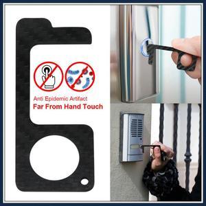 Мини-открывалка для дверей из углеродного волокна, Бесконтактный, для защиты от гриппа, для уборки на улице, без сенсорного нажатия, кнопка л...