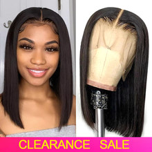 150 Density Short Bob Straight Lace Front Human Hair Wigs Transparent Lace Frontal Wigs T PART Brazilian Straight Human Hair Wig