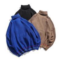 2019 Autumn New Men's Turtleneck High Collar Solid Color Sweater Teen Men's Large Size Turtleneck Sweater Men