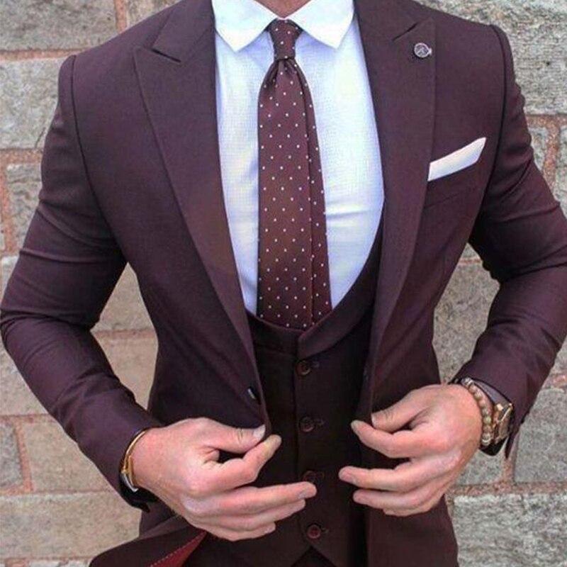 ANNIEBRITNEY 3 Piece Burgundy Slim Fit Men Formal Suit Custom Skinny Groom Wedding Tuxedo Slim Fit Prom Wedding Men Suit Set