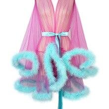 Robes Lingerie Feather-Robe Tulle Illusion Birthday Women Short Boudoir Marabou