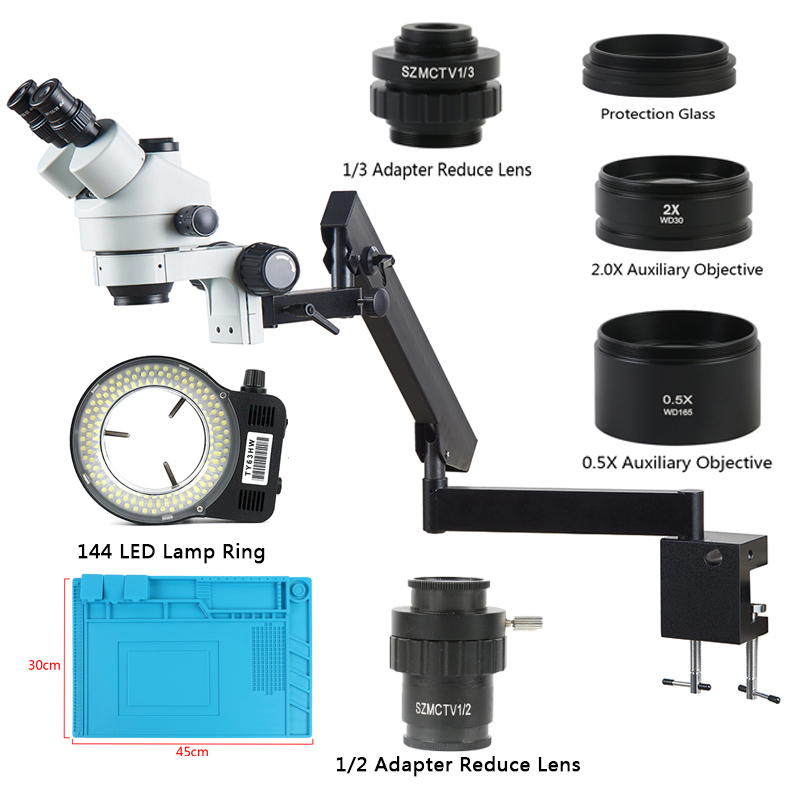 Simul-Focal 3.5X-90X Trinocular Stereo Microscope Articulating Arm Clamp Auxiliary Objective Lens 144 LED Lamp For Soldering